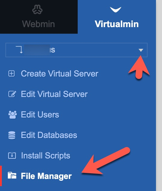 virtualmin file manager menu