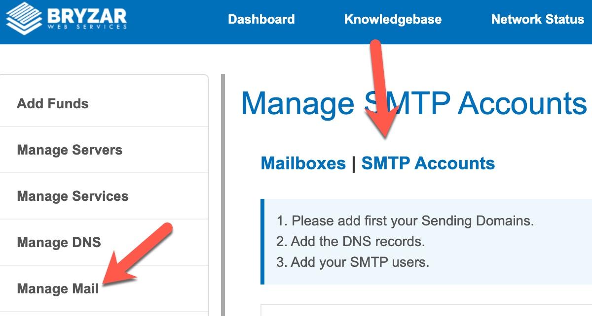 Manage Bryzar SMTP