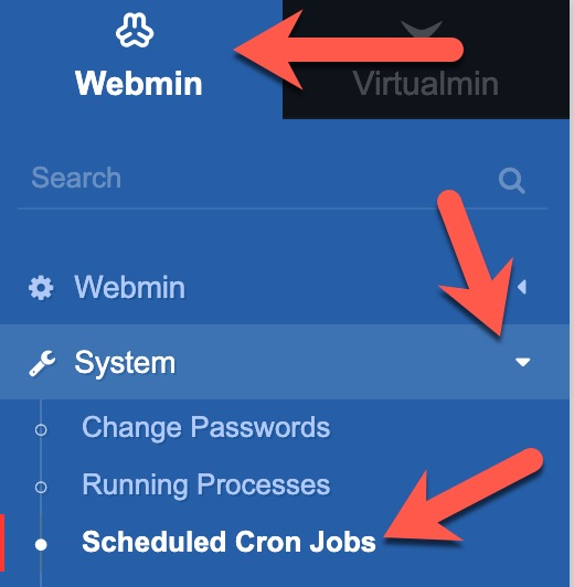 virtualmin schedule cron menu
