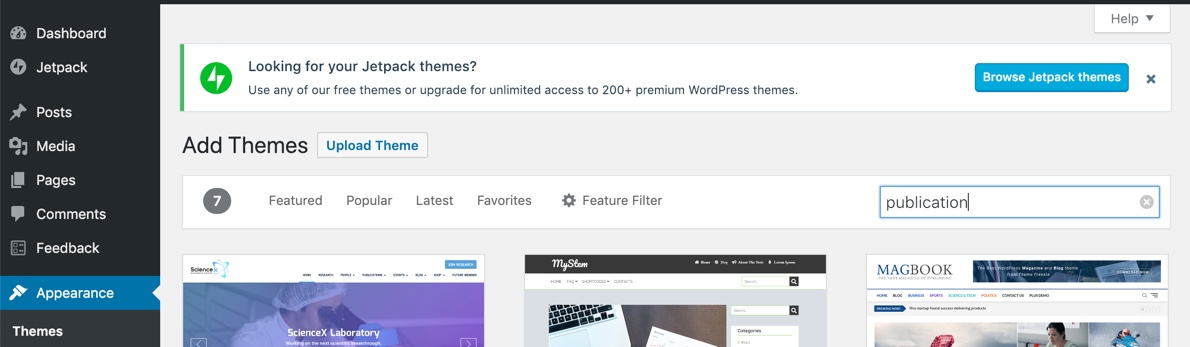 install jetpack themes