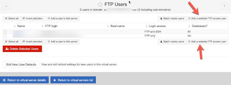 add ftp user button