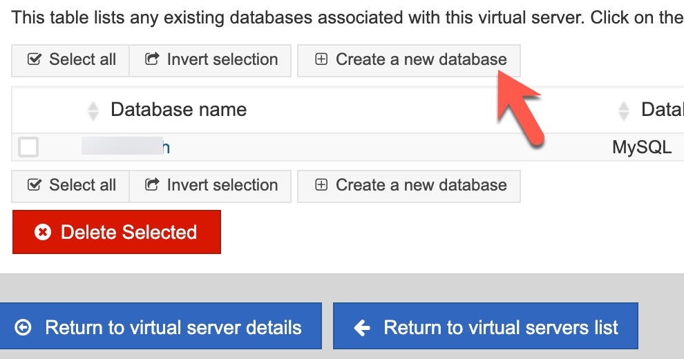 virtualmin create database