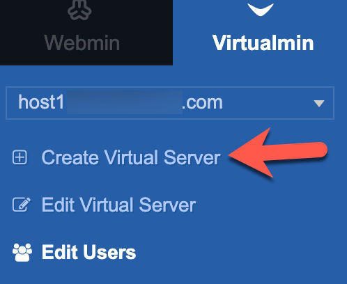 create virtualmin website