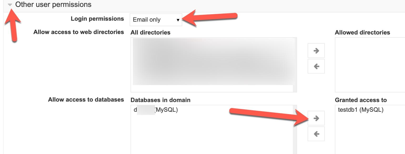 virtualmin select database for user