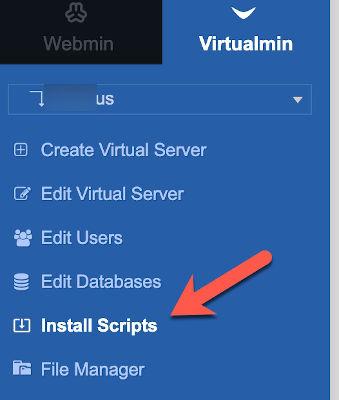 virtualmin install phpmyadmin menu